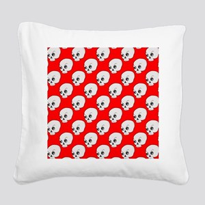 Skull Pattern On Red Backgrou Square Canvas Pillow