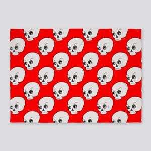 Skull Pattern On Red Background 5'x7'Area Rug