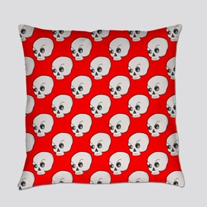 Skull Pattern On Red Background Everyday Pillow