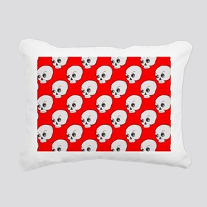 Skull Pattern On Red Bac Rectangular Canvas Pillow