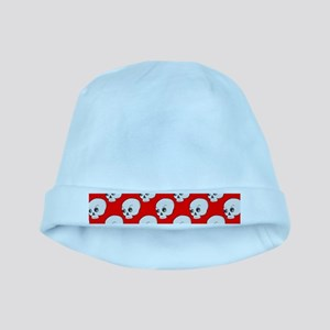 Skull Pattern On Red Background baby hat