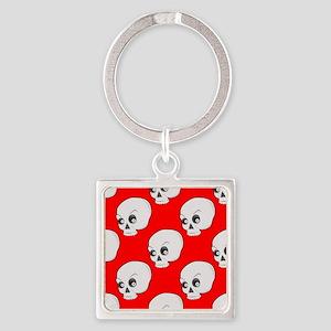 Skull Pattern On Red Background Keychains