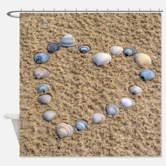 Seashell heart Shower Curtain