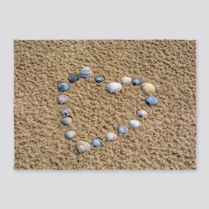 Seashell heart 5'x7'Area Rug