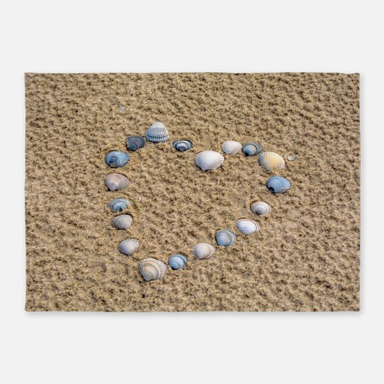 Seashell heart 5'x7'Area Rug