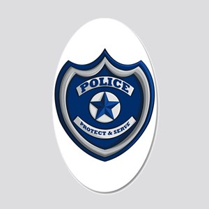 Police Badge 20x12 Oval Wall Decal