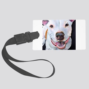 Charlie The Pitbull Dog Portrait Large Luggage Tag