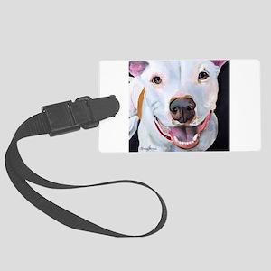 Charlie The Pitbull Dog Portrait Large Luggage Tag