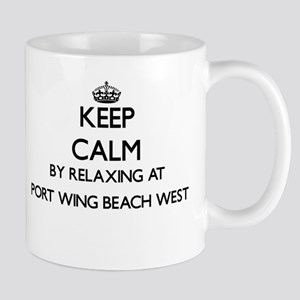 Keep calm by relaxing at Port Wing Beach West Mugs