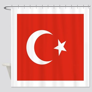 Square Turkish Flag Shower Curtain