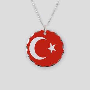 Square Turkish Flag Necklace Circle Charm