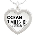 The Ocean is 6 Miles Deep Silver Heart Necklace