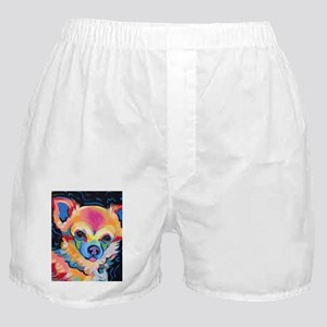 Neon Pomeranian or Chihuahua Portrait Boxer Shorts