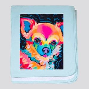 Neon Pomeranian or Chihuahua Portrait baby blanket