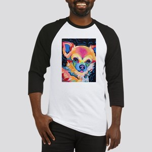 Neon Pomeranian or Chihuahua Portr Baseball Jersey