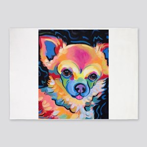 Neon Pomeranian or Chihuahua Portra 5'x7'Area Rug