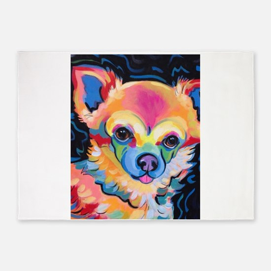 Neon Pomeranian or Chihuahua Portra 5'x7'Area Rug