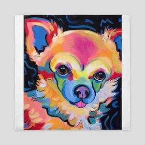 Neon Pomeranian or Chihuahua Portrait Queen Duvet
