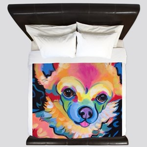 Neon Pomeranian or Chihuahua Portrait King Duvet