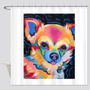 Neon Pomeranian or Chihuahua Portra Shower Curtain