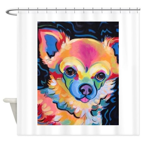 Neon Pomeranian Or Chihuahua Portra Shower Curtain By ADMIN CP13208585
