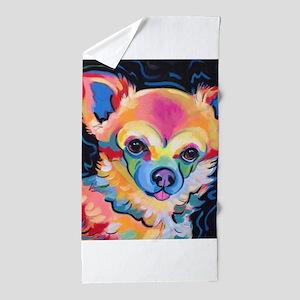 Neon Pomeranian or Chihuahua Portrait Beach Towel