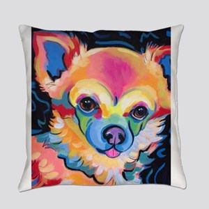 Neon Pomeranian or Chihuahua Portr Everyday Pillow