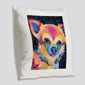 Neon Pomeranian or Chihuahua P Burlap Throw Pillow