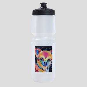 Neon Pomeranian or Chihuahua Portrai Sports Bottle