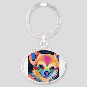 Neon Pomeranian or Chihuahua Portrait Keychains