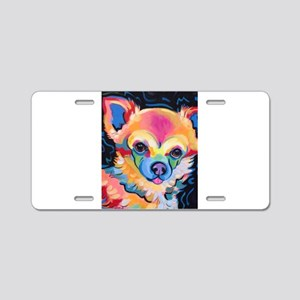 Neon Pomeranian or Chihuahu Aluminum License Plate