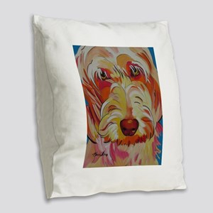 Harvey the Doodle Burlap Throw Pillow