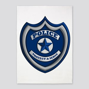 Police Badge 5'x7'Area Rug