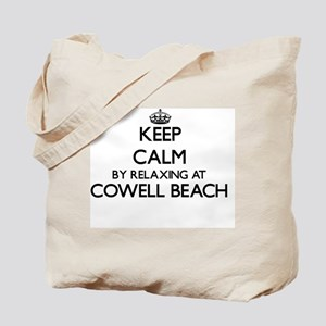 Keep calm by relaxing at Cowell Beach Cal Tote Bag