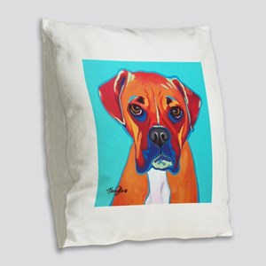 Bella The Boxer Burlap Throw Pillow