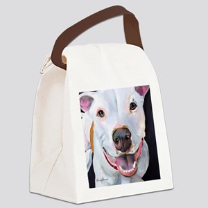 Charlie The Pitbull Dog Portrait Canvas Lunch Bag