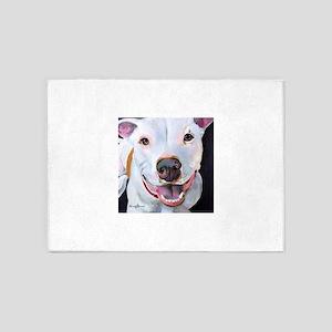 Charlie The Pitbull Dog Portrait 5'x7'Area Rug