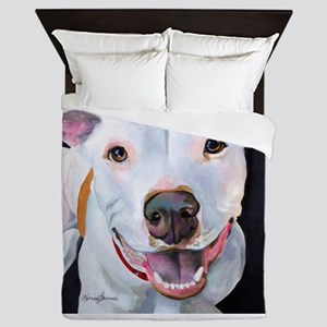 Charlie The Pitbull Dog Portrait Queen Duvet