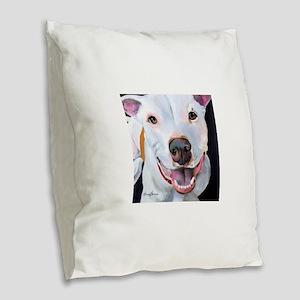 Charlie The Pitbull Dog Portra Burlap Throw Pillow