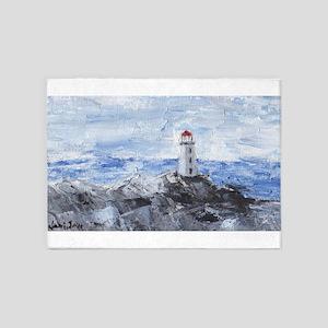Peggy's Cove Lighthouse 5'x7'Area Rug