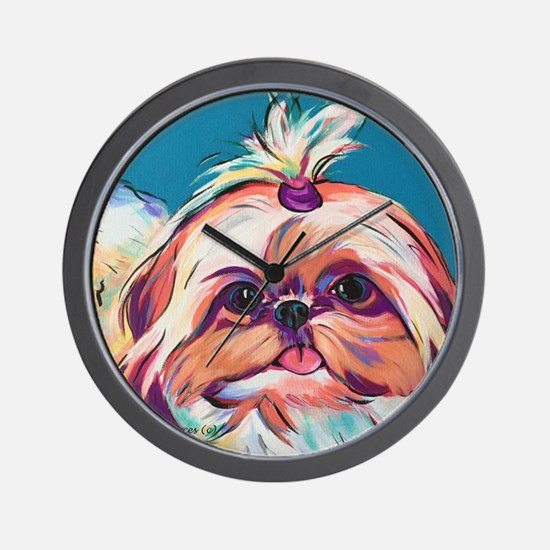 Pebbles the Shih Tzu Dog Art Wall Clock