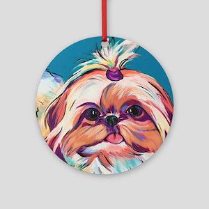Pebbles the Shih Tzu Dog Art Round Ornament