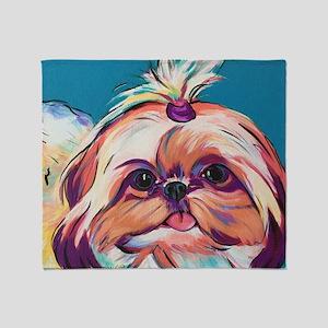 Pebbles the Shih Tzu Dog Art Throw Blanket