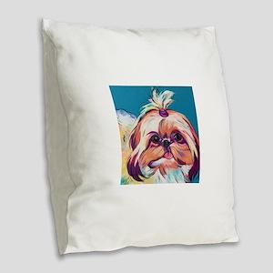 Pebbles the Shih Tzu Dog Art Burlap Throw Pillow