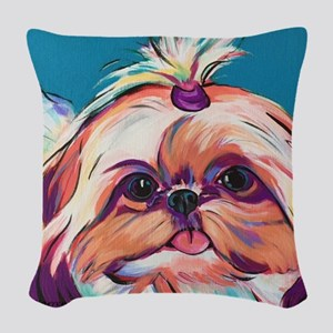 Pebbles the Shih Tzu Dog Art Woven Throw Pillow