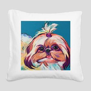 Pebbles the Shih Tzu Dog Art Square Canvas Pillow