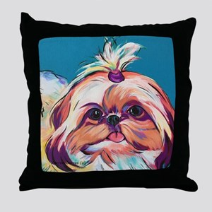 Pebbles the Shih Tzu Dog Art Throw Pillow
