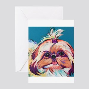 Pebbles the Shih Tzu Dog Art Greeting Cards