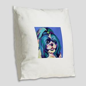 Herkey the Shih Tzu Dog Art Burlap Throw Pillow