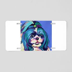 Herkey the Shih Tzu Dog Art Aluminum License Plate